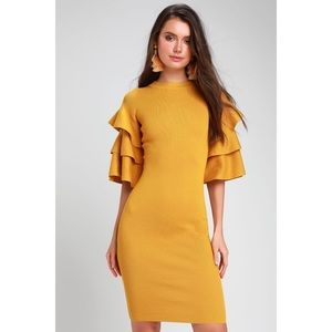 Lulus Mustard Yellow Statement Sleeve Midi Dress